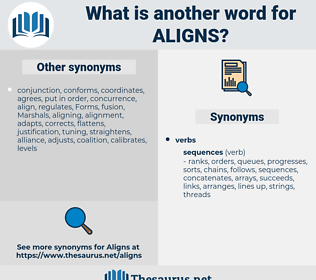 aligns, synonym aligns, another word for aligns, words like aligns, thesaurus aligns