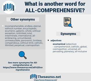 all-comprehensive, synonym all-comprehensive, another word for all-comprehensive, words like all-comprehensive, thesaurus all-comprehensive