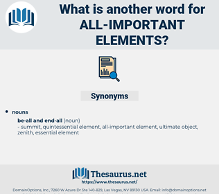 all important elements, synonym all important elements, another word for all important elements, words like all important elements, thesaurus all important elements