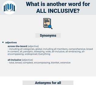 all inclusive, synonym all inclusive, another word for all inclusive, words like all inclusive, thesaurus all inclusive