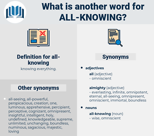 all-knowing, synonym all-knowing, another word for all-knowing, words like all-knowing, thesaurus all-knowing