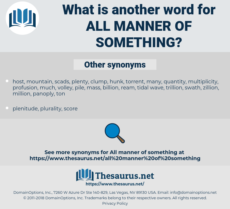 all manner of something, synonym all manner of something, another word for all manner of something, words like all manner of something, thesaurus all manner of something