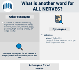 all nerves, synonym all nerves, another word for all nerves, words like all nerves, thesaurus all nerves