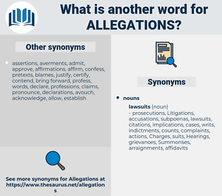 allegations, synonym allegations, another word for allegations, words like allegations, thesaurus allegations