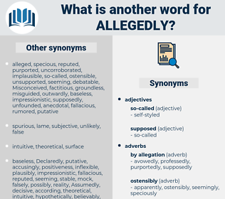 allegedly, synonym allegedly, another word for allegedly, words like allegedly, thesaurus allegedly