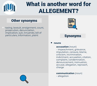allegement, synonym allegement, another word for allegement, words like allegement, thesaurus allegement
