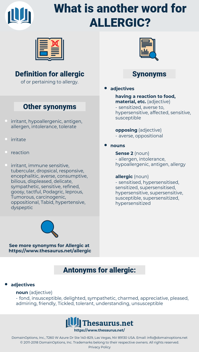 allergic, synonym allergic, another word for allergic, words like allergic, thesaurus allergic