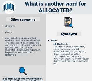 allocated, synonym allocated, another word for allocated, words like allocated, thesaurus allocated