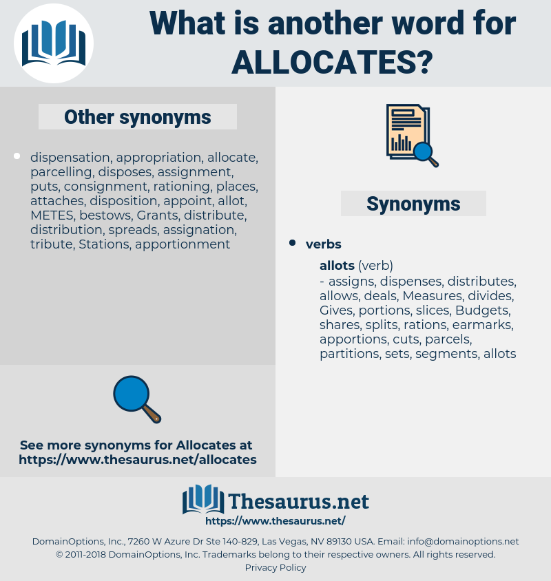 allocates, synonym allocates, another word for allocates, words like allocates, thesaurus allocates