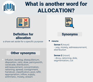 allocation, synonym allocation, another word for allocation, words like allocation, thesaurus allocation