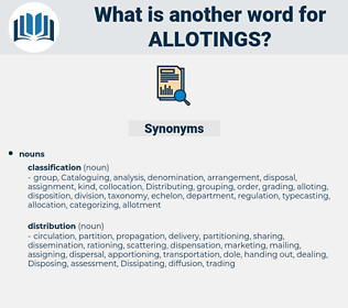 allotings, synonym allotings, another word for allotings, words like allotings, thesaurus allotings
