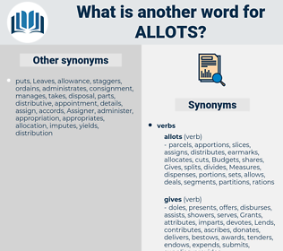 allots, synonym allots, another word for allots, words like allots, thesaurus allots