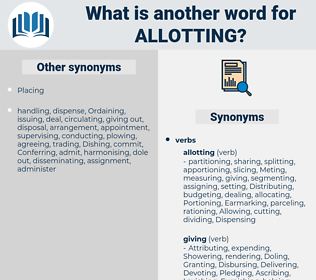 Allotting, synonym Allotting, another word for Allotting, words like Allotting, thesaurus Allotting
