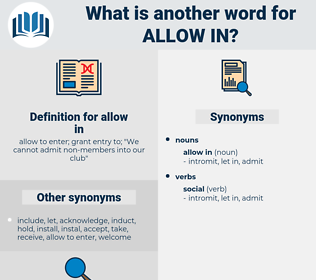 allow in, synonym allow in, another word for allow in, words like allow in, thesaurus allow in