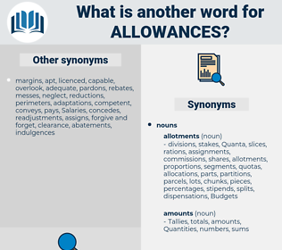 allowances, synonym allowances, another word for allowances, words like allowances, thesaurus allowances
