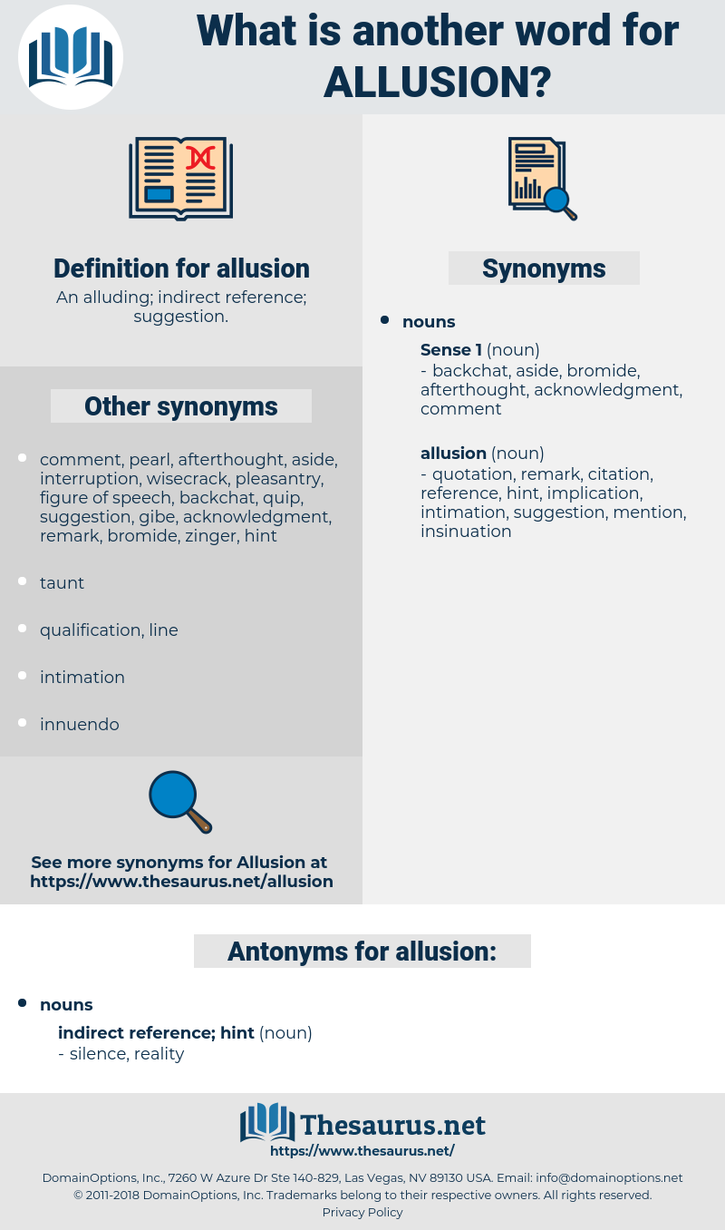 allusion, synonym allusion, another word for allusion, words like allusion, thesaurus allusion