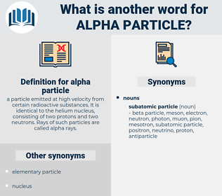 alpha particle, synonym alpha particle, another word for alpha particle, words like alpha particle, thesaurus alpha particle