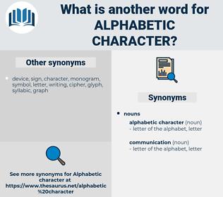 alphabetic character, synonym alphabetic character, another word for alphabetic character, words like alphabetic character, thesaurus alphabetic character