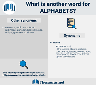 alphabets, synonym alphabets, another word for alphabets, words like alphabets, thesaurus alphabets
