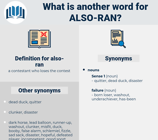 also-ran, synonym also-ran, another word for also-ran, words like also-ran, thesaurus also-ran