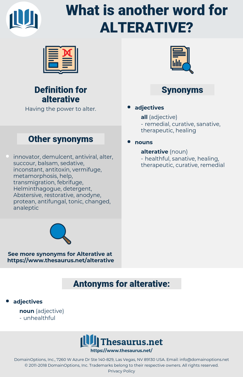 alterative, synonym alterative, another word for alterative, words like alterative, thesaurus alterative