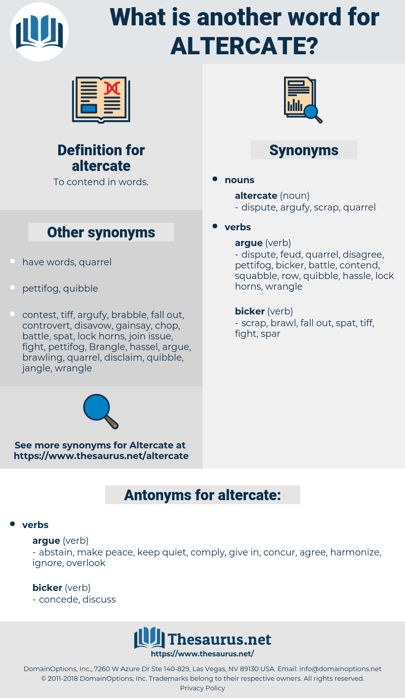altercate, synonym altercate, another word for altercate, words like altercate, thesaurus altercate