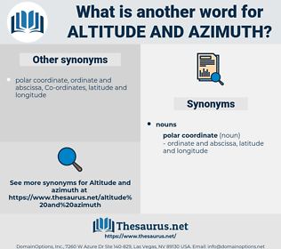 altitude and azimuth, synonym altitude and azimuth, another word for altitude and azimuth, words like altitude and azimuth, thesaurus altitude and azimuth