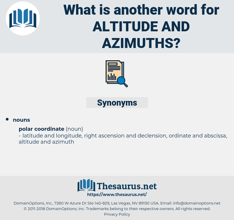 altitude and azimuths, synonym altitude and azimuths, another word for altitude and azimuths, words like altitude and azimuths, thesaurus altitude and azimuths