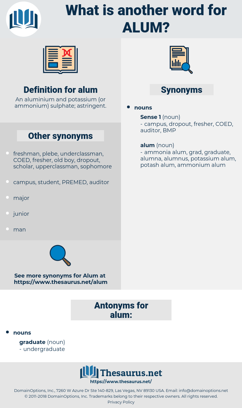 alum, synonym alum, another word for alum, words like alum, thesaurus alum