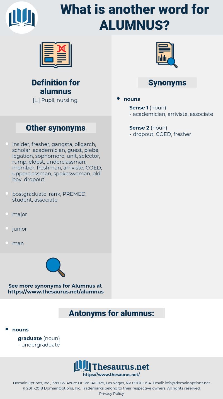 alumnus, synonym alumnus, another word for alumnus, words like alumnus, thesaurus alumnus