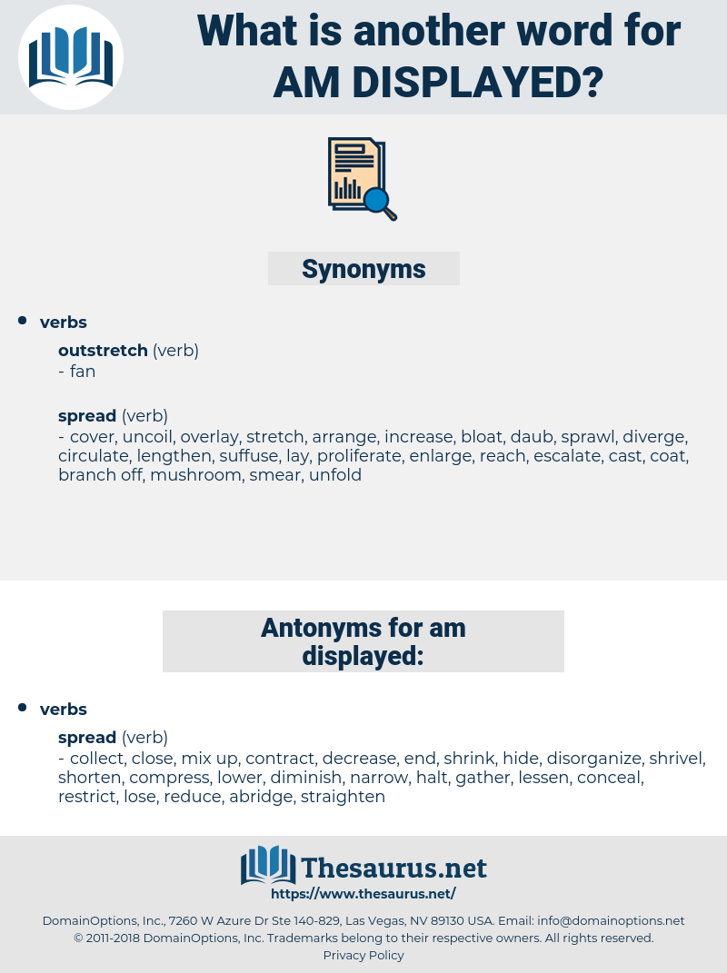 am displayed, synonym am displayed, another word for am displayed, words like am displayed, thesaurus am displayed