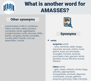 amasses, synonym amasses, another word for amasses, words like amasses, thesaurus amasses