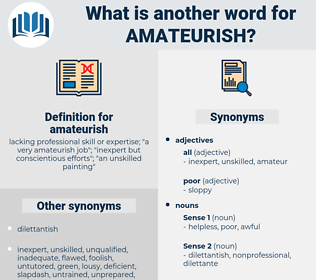 amateurish, synonym amateurish, another word for amateurish, words like amateurish, thesaurus amateurish