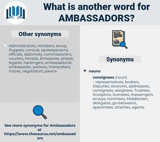 ambassadors, synonym ambassadors, another word for ambassadors, words like ambassadors, thesaurus ambassadors