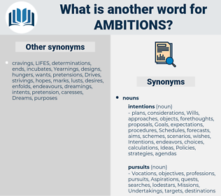 ambitions, synonym ambitions, another word for ambitions, words like ambitions, thesaurus ambitions