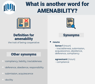 amenability, synonym amenability, another word for amenability, words like amenability, thesaurus amenability