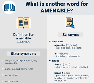 amenable, synonym amenable, another word for amenable, words like amenable, thesaurus amenable