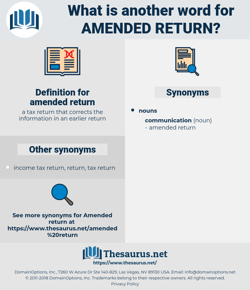 amended return, synonym amended return, another word for amended return, words like amended return, thesaurus amended return