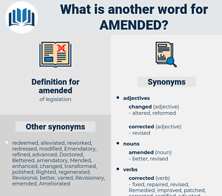 amended, synonym amended, another word for amended, words like amended, thesaurus amended