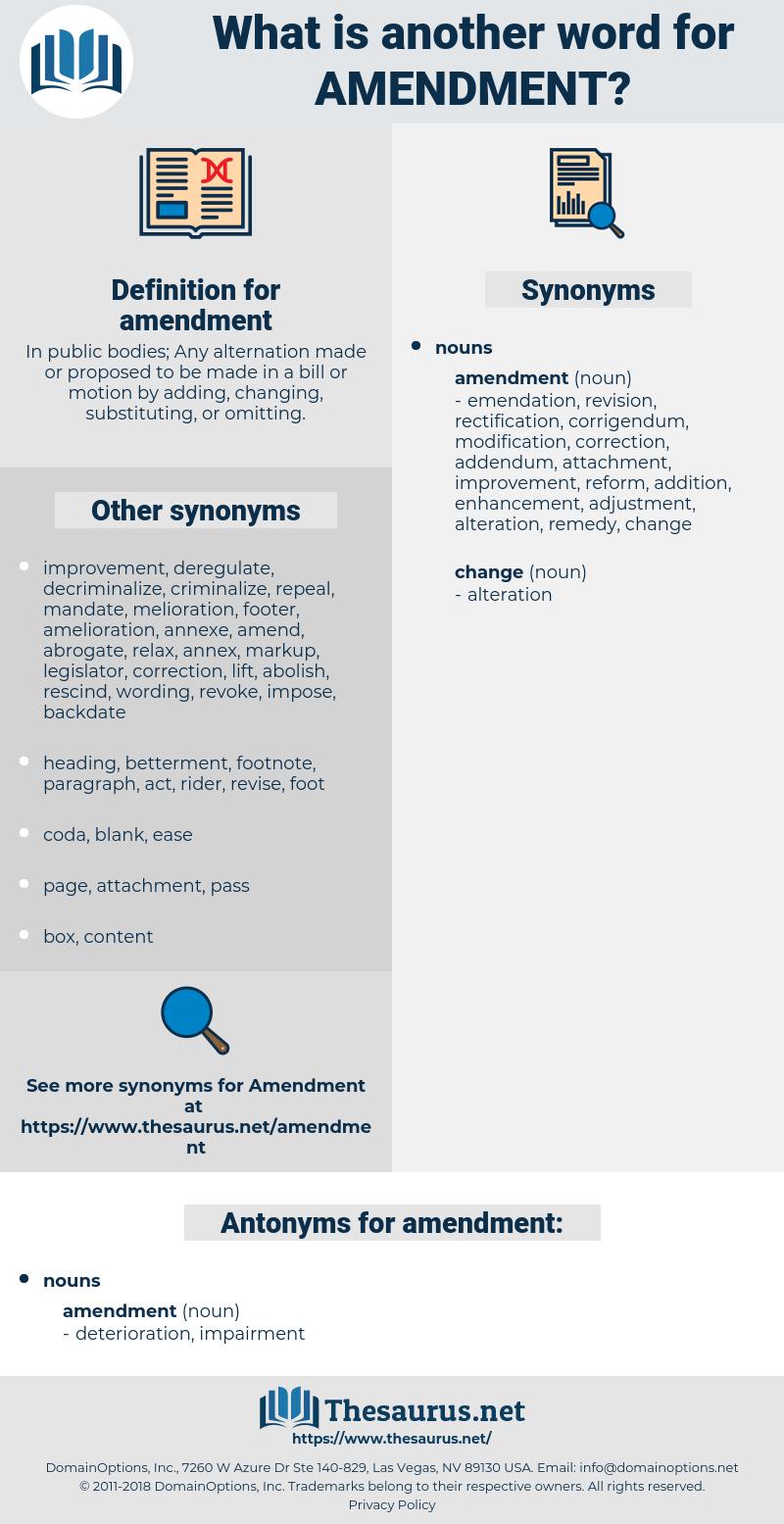 Synonyms for AMENDMENT, Antonyms for AMENDMENT - Thesaurus net