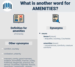 amenities, synonym amenities, another word for amenities, words like amenities, thesaurus amenities