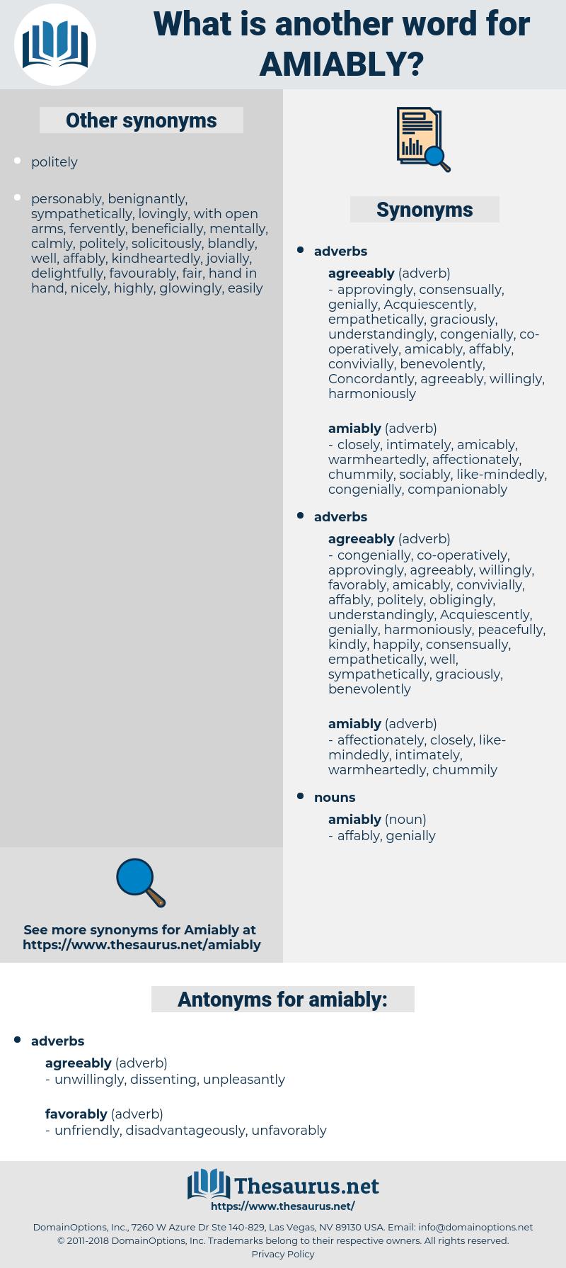 amiably, synonym amiably, another word for amiably, words like amiably, thesaurus amiably