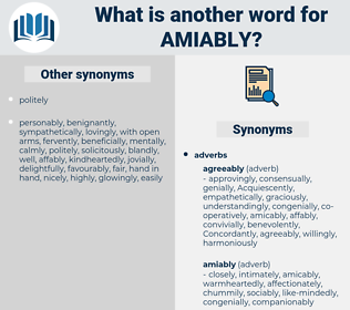 amiably, synonym amiably, another word for amiably, words like amiably, thesaurus amiably