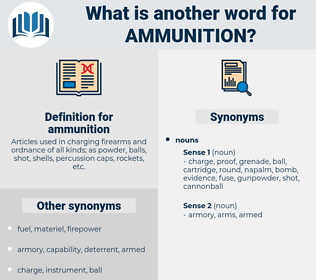 ammunition, synonym ammunition, another word for ammunition, words like ammunition, thesaurus ammunition