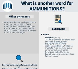 ammunitions, synonym ammunitions, another word for ammunitions, words like ammunitions, thesaurus ammunitions