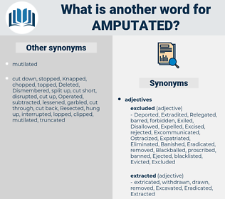 Amputated, synonym Amputated, another word for Amputated, words like Amputated, thesaurus Amputated