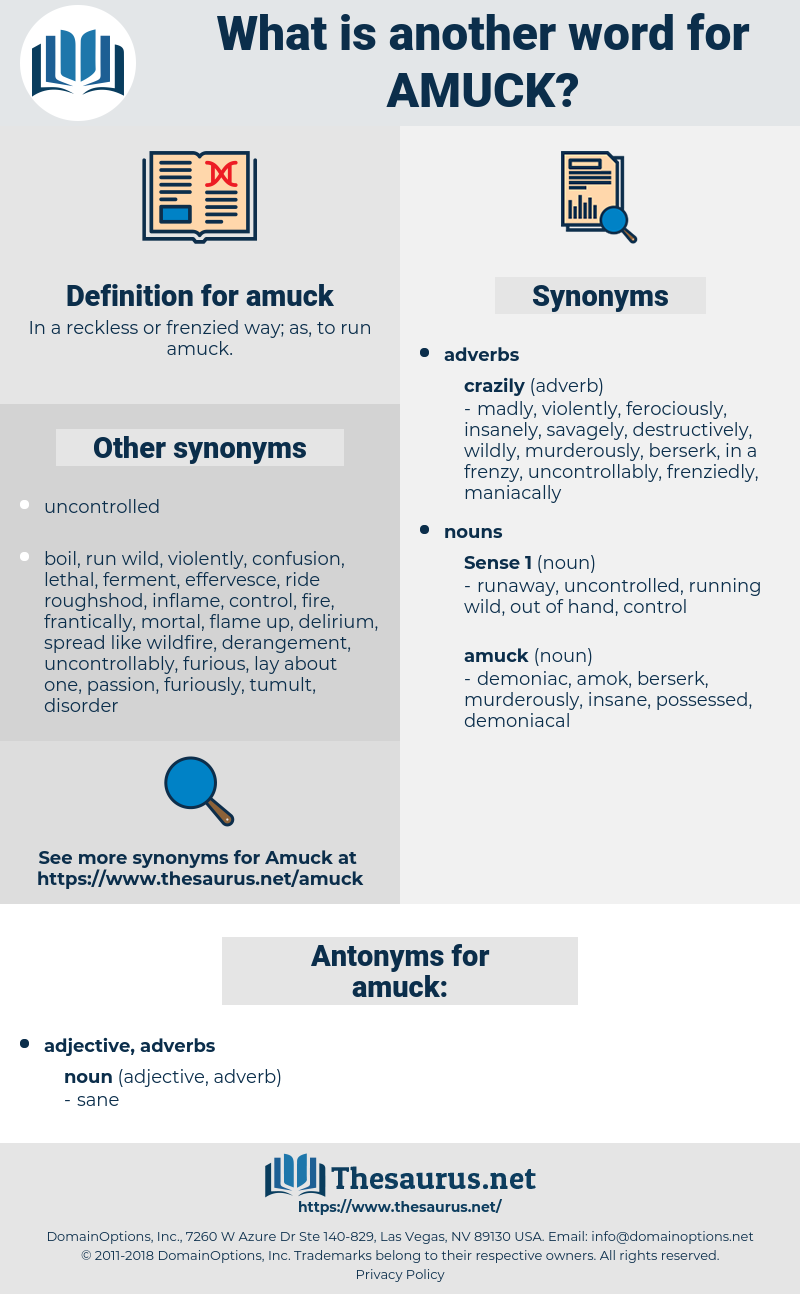 amuck, synonym amuck, another word for amuck, words like amuck, thesaurus amuck