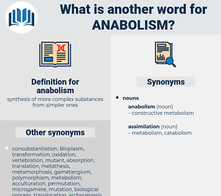 anabolism, synonym anabolism, another word for anabolism, words like anabolism, thesaurus anabolism