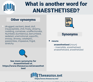 anaesthetised, synonym anaesthetised, another word for anaesthetised, words like anaesthetised, thesaurus anaesthetised