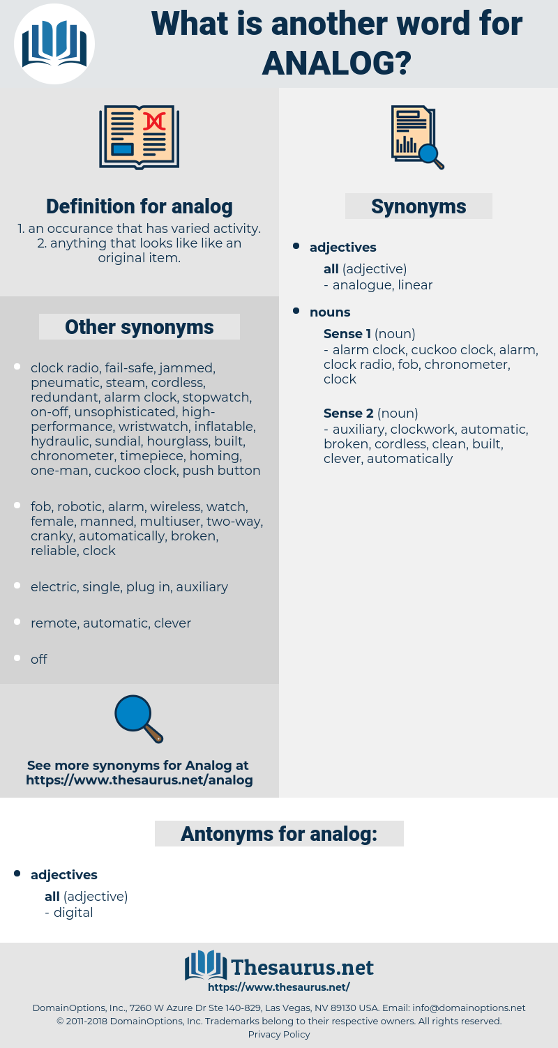analog, synonym analog, another word for analog, words like analog, thesaurus analog